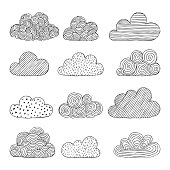 Beautiful set of doodle clouds. Isolated sketch. design background greeting cards and invitations to the wedding, birthday, mother s day and other seasonal autumn holidays.