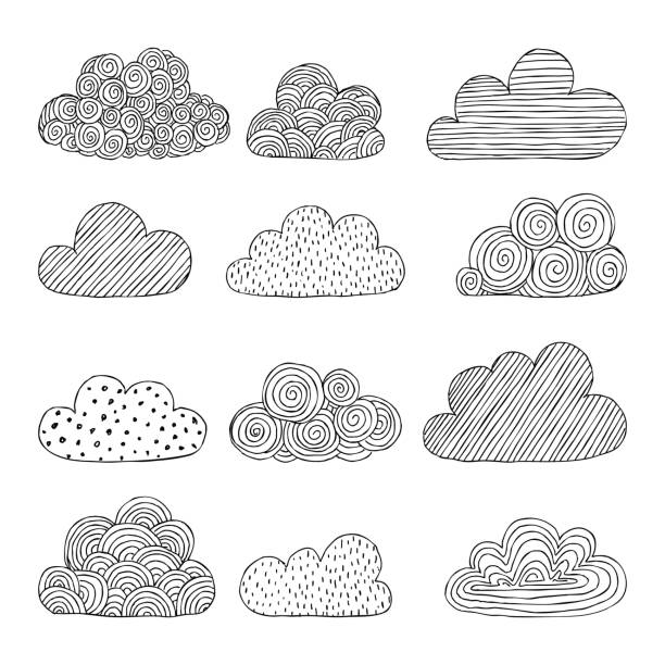 beautiful set of doodle clouds. isolated sketch. design background greeting cards and invitations to the wedding, birthday, mother s day and other seasonal autumn holidays. - clouds stock illustrations, clip art, cartoons, & icons
