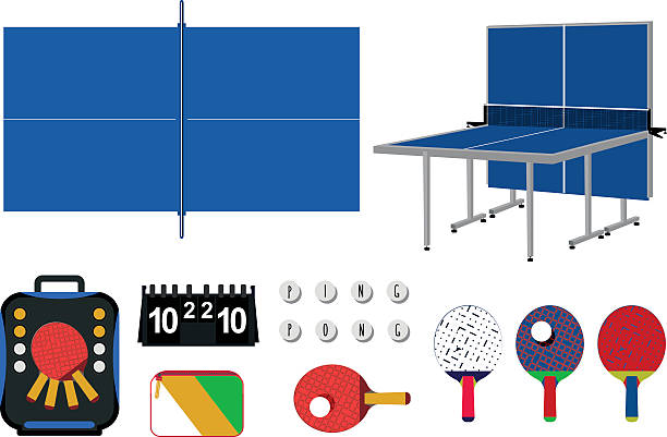 Beautiful set of ping pong equipment. Beautiful set of ping pong equipment with all objects easy editable, isolated on white background. ping pong table stock illustrations