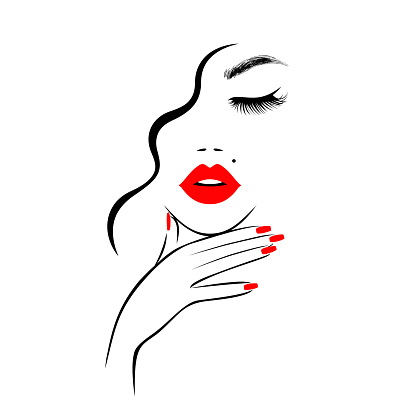 Beautiful sexy face, red lips, hand with red manicure nails, fashion woman, element design, nails studio, curly hairstyle, hair salon sign, icon. Beauty Logo. Vector illustration. Hand drawing style.