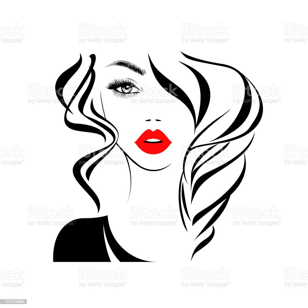 Beautiful Sexy Face Red Lips Hand With Red Manicure Nails Fashion Woman Element Design Nails Studio Curly Hairstyle Hair Salon Sign Icon Beauty Logo Vector Illustration Hand Drawing Style Stock Illustration
