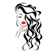 istock Beautiful sexy face, red lips, hand with red manicure nails, fashion woman, element design, nails studio, curly hairstyle, hair salon sign, icon. Beauty Logo. Vector illustration. Hand drawing style. 1224784708
