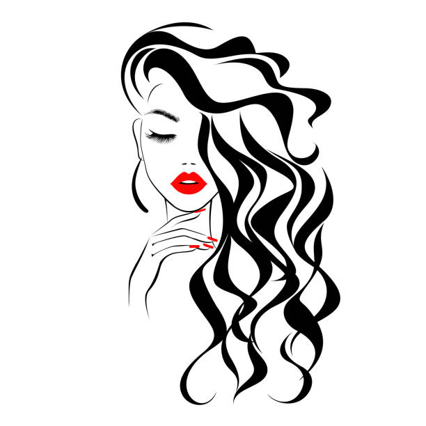 Beautiful sexy face, red lips, hand with red manicure nails, fashion woman, element design, nails studio, curly hairstyle, hair salon sign, icon. Beauty Logo. Vector illustration. Hand drawing style. Beautiful sexy face, red lips, hand with red manicure nails, fashion woman, element design, nails studio, curly hairstyle, hair salon sign, icon. Beauty Logo. Vector illustration. Hand drawing style. beautiful woman stock illustrations