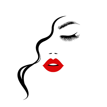 beautiful sexy woman face red lips curly hair style