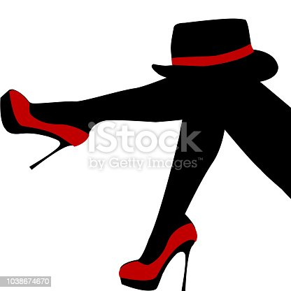 Beautiful sexy woman legs with red shoes and hat