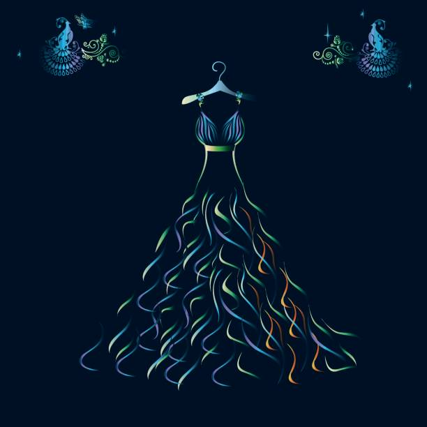 schöne glänzende abendkleid silhouette - couture stock-grafiken, -clipart, -cartoons und -symbole