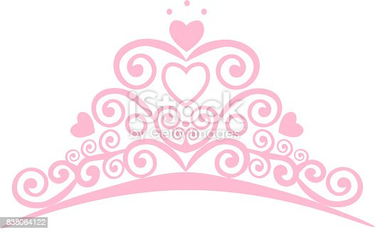 Beautiful shining princess crown. Vector illustration. design elements little Princess