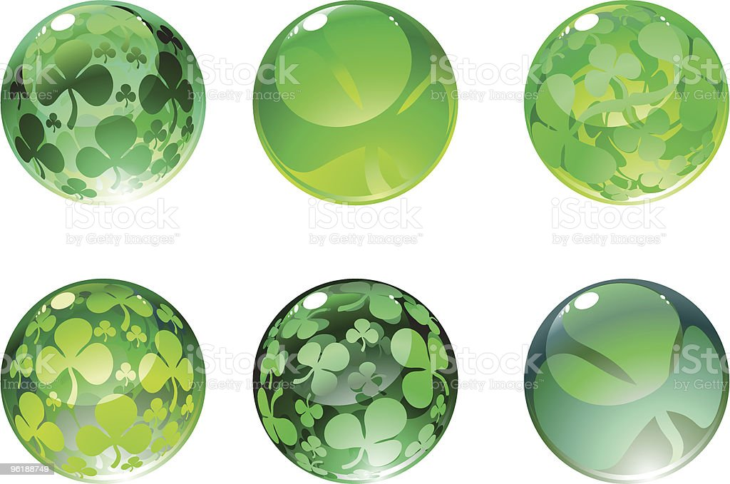 beautiful shiny balls decorated with clover leaves royalty-free stock vector art