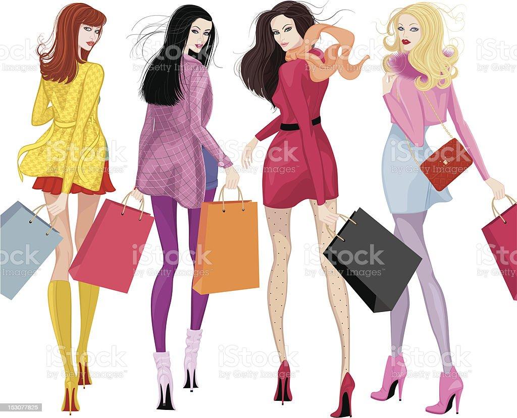 美しいショッピング女の子 4人のベクターアート素材や画像を多数ご用意