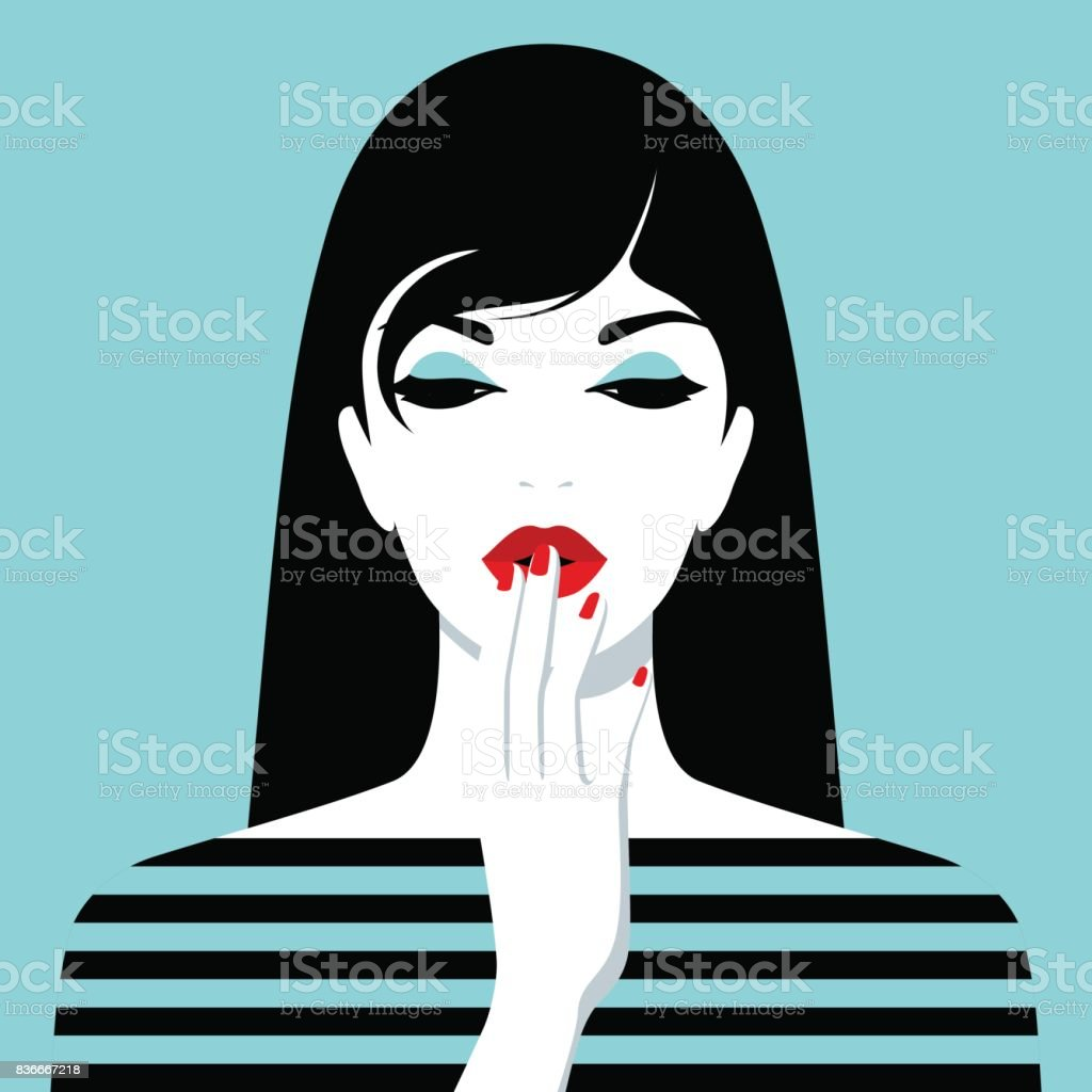 Beautiful shy girl with long hair vector art illustration