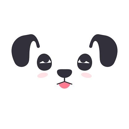 Beautiful Silhouette Of A Cute Cartoon Dog Face Stock