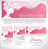 Vector illustration. Beautiful silhouette of long hair woman on pink background. Corporate identity branding template of banner/flyer and business card. Concept design for beauty salons, spa, cosmetics, fashion and beauty industry.
