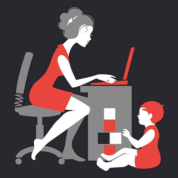 illustrations, cliparts, dessins animés et icônes de belle silhouette de mère free-lance - femmes actives
