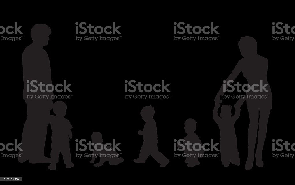 beautiful silhouettes of family and children royalty-free beautiful silhouettes of family and children stock vector art & more images of activity