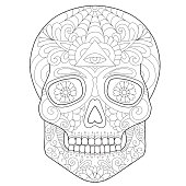 beautiful skull, coloring for adults