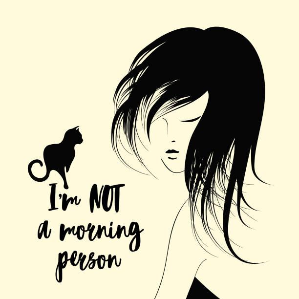 ilustraciones, imágenes clip art, dibujos animados e iconos de stock de hermosa chica sueño con pelo desordenado y el gato - cabello negro
