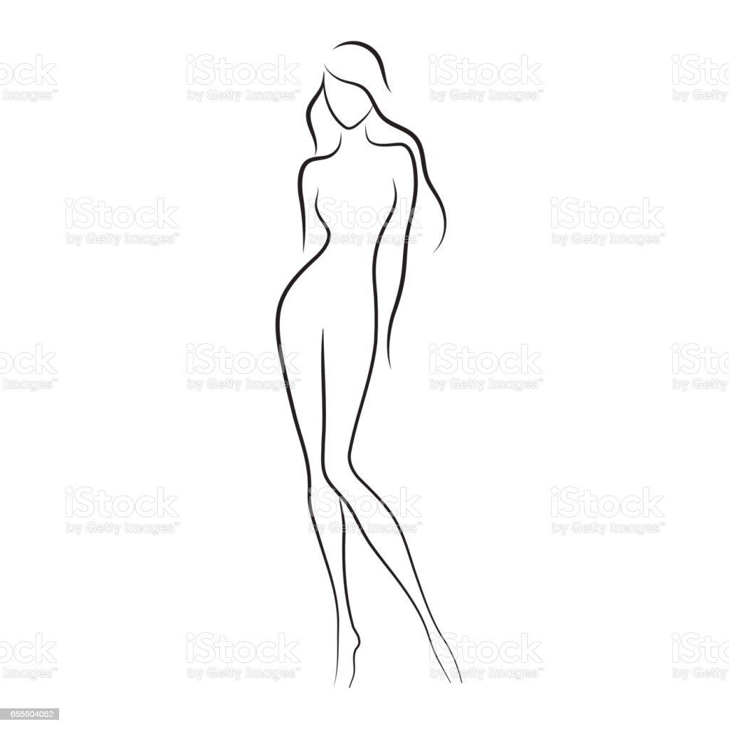 Beautiful slim nude young woman vector illustration vector art illustration