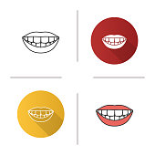 Beautiful smile with healthy teeth flat design, linear and color icons set