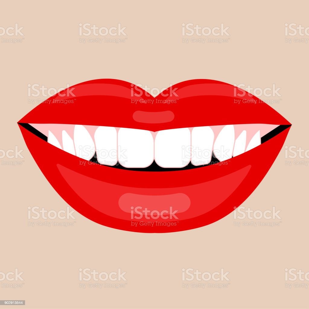 Beautiful Smile With White Teeth Stock Illustration - Download Image Now