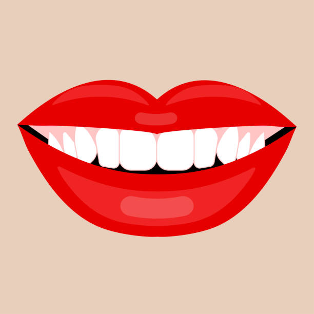 beautiful smile with white teeth - toothy smile stock illustrations