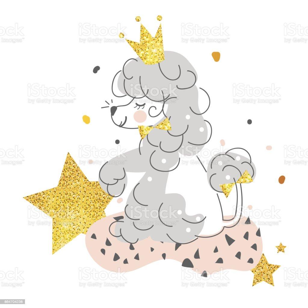 黄金の王冠星の美しい笑顔かわいい犬プードル かわいがられている