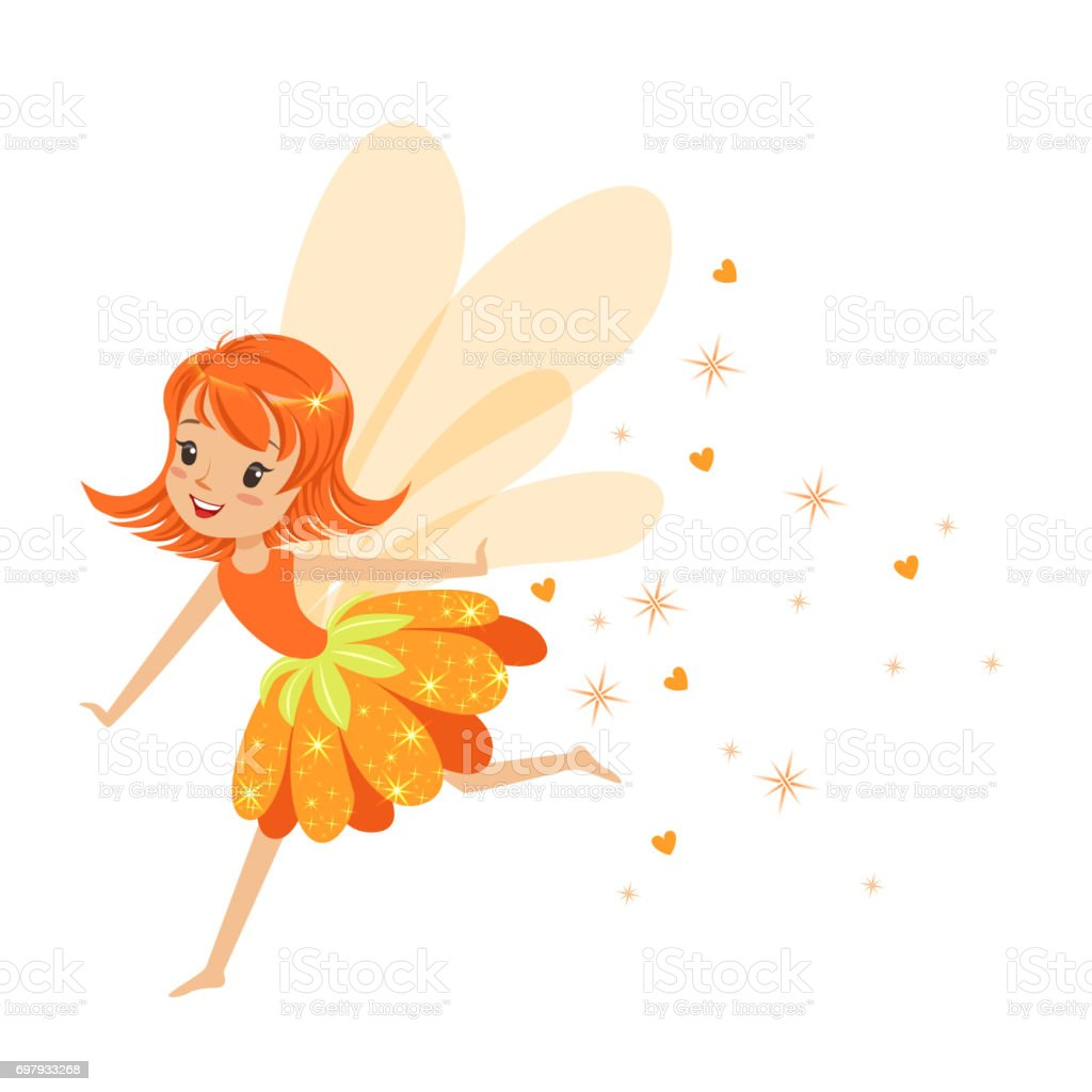 Güzel Gülümseyen Turuncu Peri Kızı Renkli Karikatür Karakter Vektör