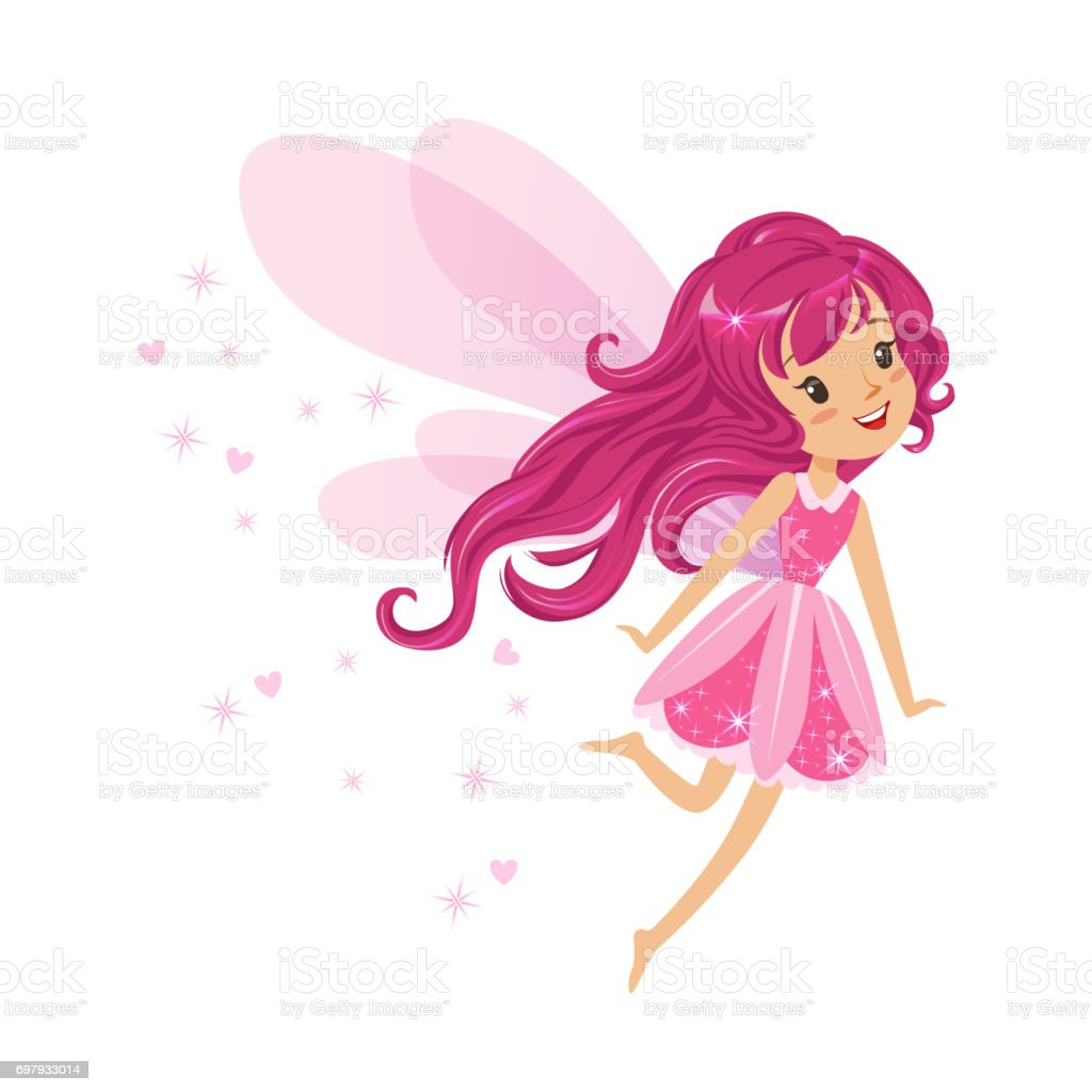 Güzel Gülümseyen Pembe Peri Kızı Renkli Karikatür Karakter Vektör