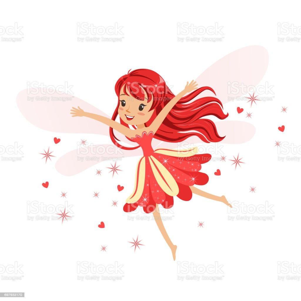 Güzel Gülümseyen Kırmızı Peri Kızı Renkli Karikatür Karakter Vektör