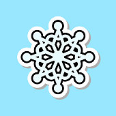 Beautiful Snowflake Icon Isolated Christmas Decoration Sticker Concept Vector Illustration