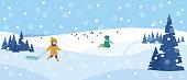 Beautiful snowy landscape. Winter scene with playing children. Winter fun, sledding, walk. Vector