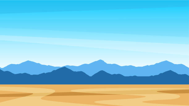 beautiful southern scenic landscape with mountains. southern view texas - desert stock illustrations
