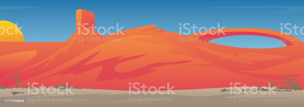 Mooie zuidwestelijke USA Desert Valley landschap scène vector illustratie - Royalty-free Abstract vectorkunst