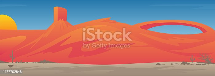 A colorful desert scene with large mesa, arch, valley with cactus and shrubs, southwestern red rocks style background, with beautiful sunset or sunrise, and rolling hills, sharp vector illustration for easy editing.