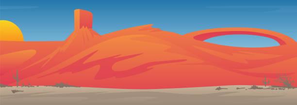 stockillustraties, clipart, cartoons en iconen met mooie zuidwestelijke usa desert valley landschap scène vector illustratie - moab utah