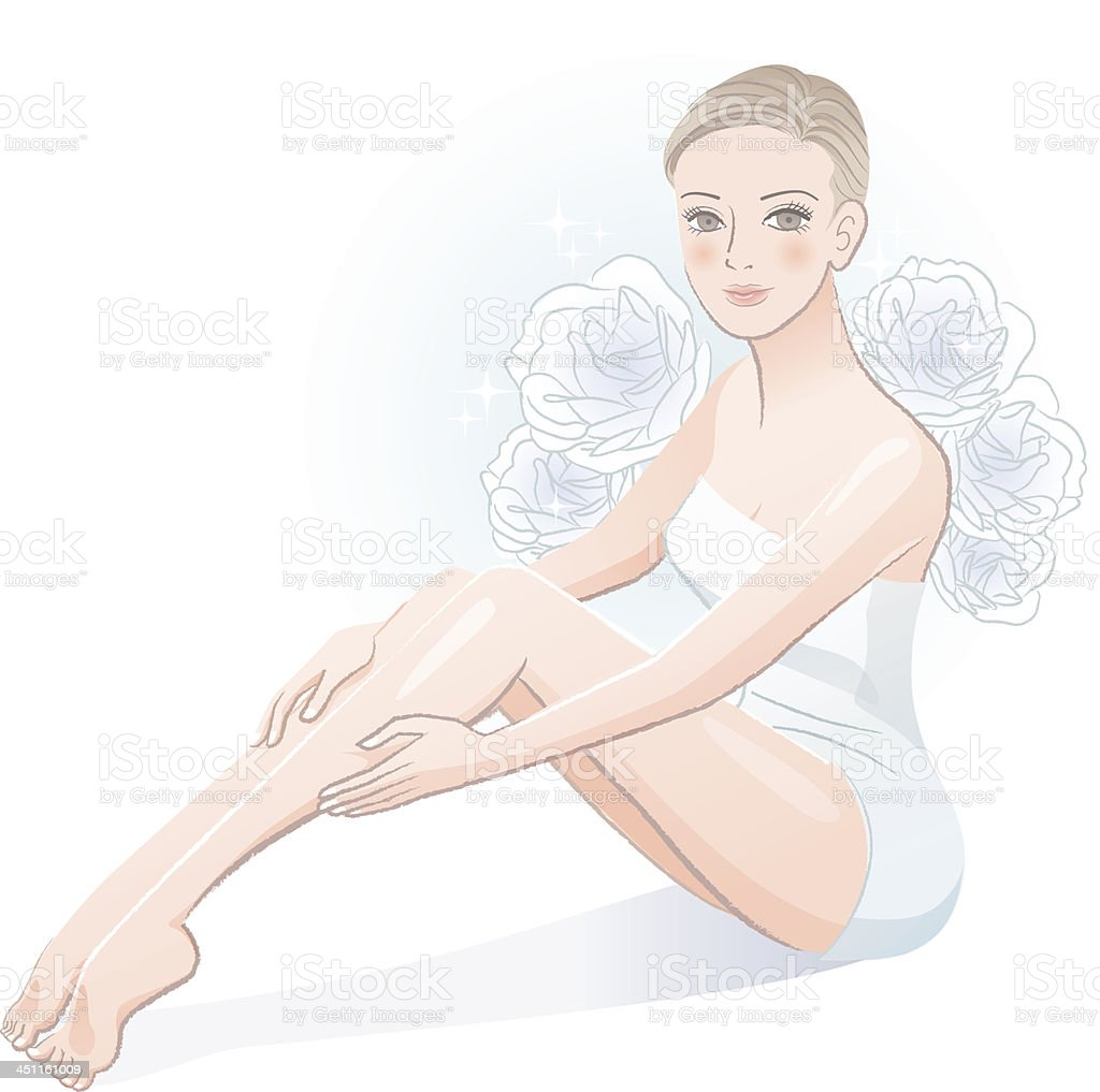 Beautiful spa woman sitting and massaging her legs royalty-free stock vector art