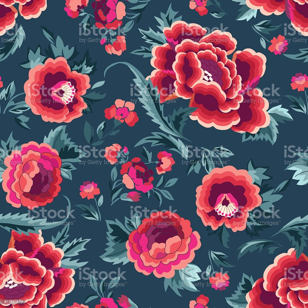 Beautiful Spanish inspired floral print - seamless background vector art illustration