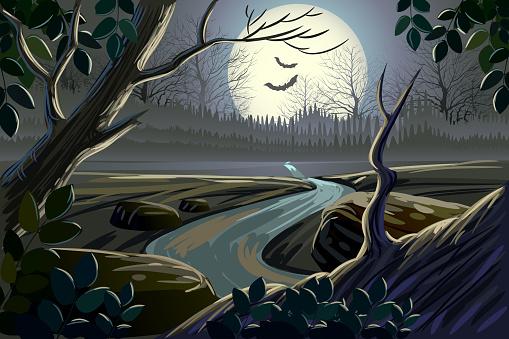 Beautiful spooky landscape