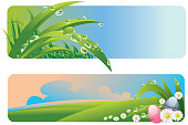 Self illustrated Beautiful spring and Easter  backgrounds/banners,all elements are in separate layers,very easy to edit. please visit my portfolio for more options. Please see more related images on these lightboxes: http://i1136.photobucket.com/albums/n483/Nagendra_art/easter.jpg?t=1291448607