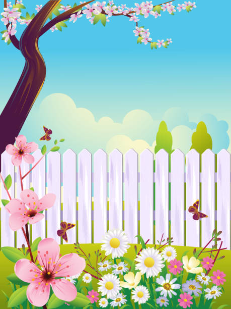 beautiful spring background - garden stock illustrations, clip art, cartoons, & icons