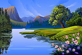 Self illustrated Beautiful Spring background/Landscape, all elements are in separate layers and grouped, very easy to edit please visit my portfolio for more options. Please see more related images on these lightboxes: http://i1136.photobucket.com/albums/n483/Nagendra_art/easter.jpg?t=1291448607