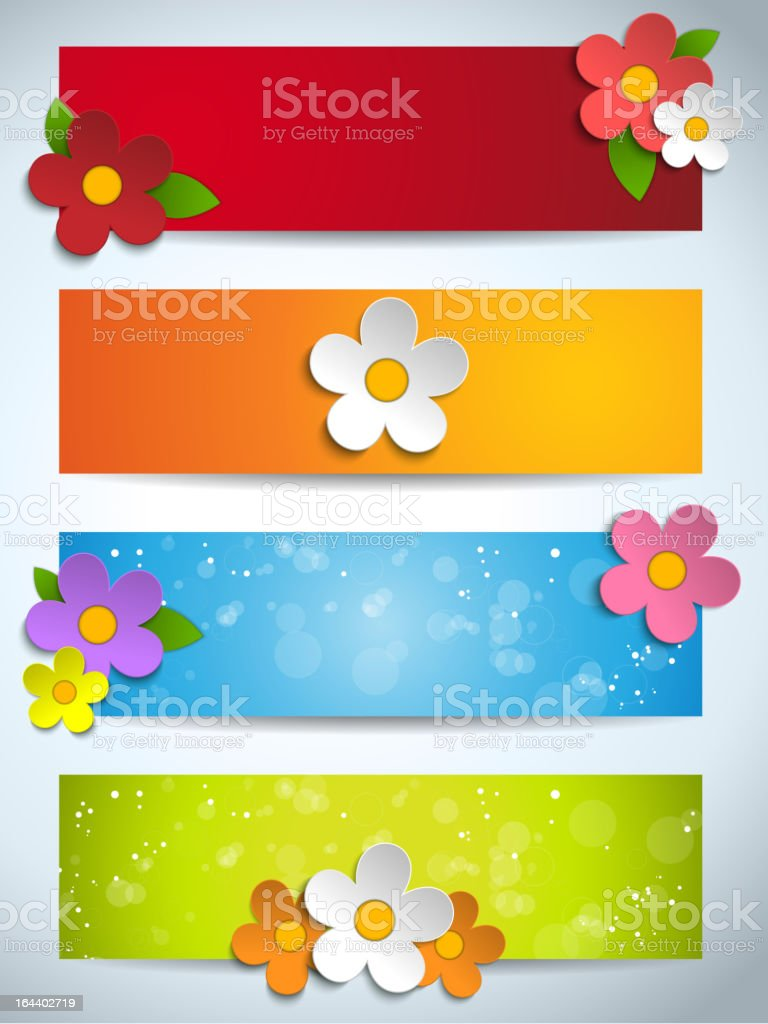 Beautiful Spring Flowers and Leafs Set of Banners royalty-free stock vector art
