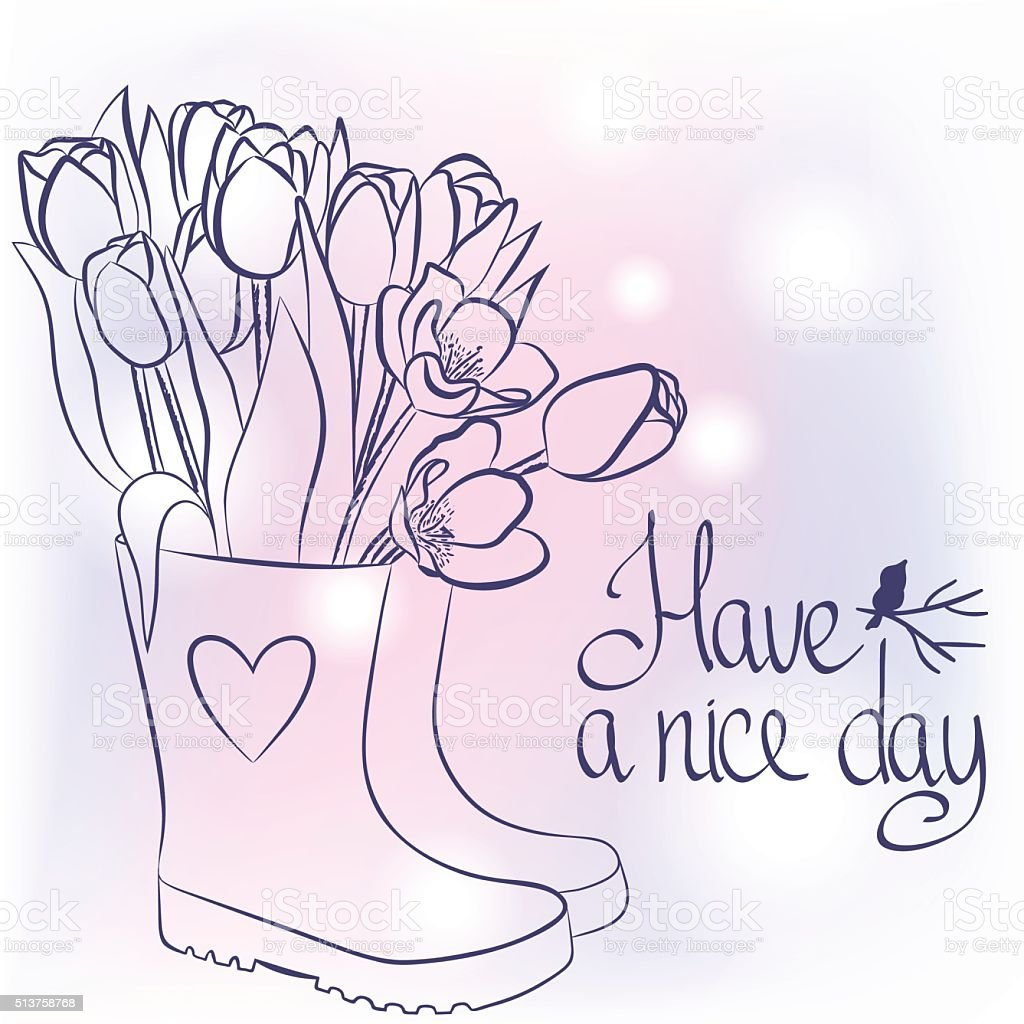 beautiful spring flowers in rubber boots with hand draw text stock