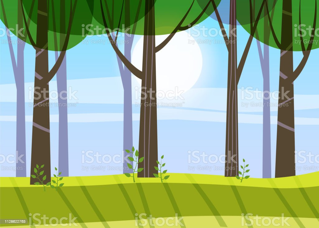 Beautiful Spring forest trees, green foliage, landscape