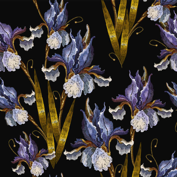 beautiful spring irises, embroidery seamless pattern. renaissance art. fashion art nouveau template for clothes, t-shirt design - spring fashion stock illustrations, clip art, cartoons, & icons
