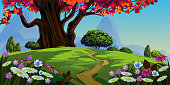 Beautiful spring Landscape, all elements are in separate layers and grouped, Please visit my portfolio for more Options. Please see more related images on these lightboxes: http://i1136.photobucket.com/albums/n483/Nagendra_art/easter.jpg?t=1291448607