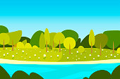 beautiful spring landscape with river and blue sky horizontal vector illustration