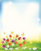 Beautiful Spring Scene. EPS 10 file.