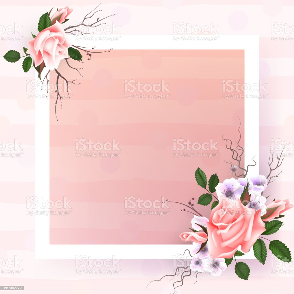 Beautiful square frame with pink roses and pearls on black beautiful square frame with pink roses and pearls on black background for greeting card or invitation kristyandbryce Gallery