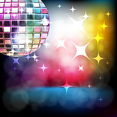 Vector illustration of Beautiful Stage with Disco ball, all elements are in separate layers and grouped.