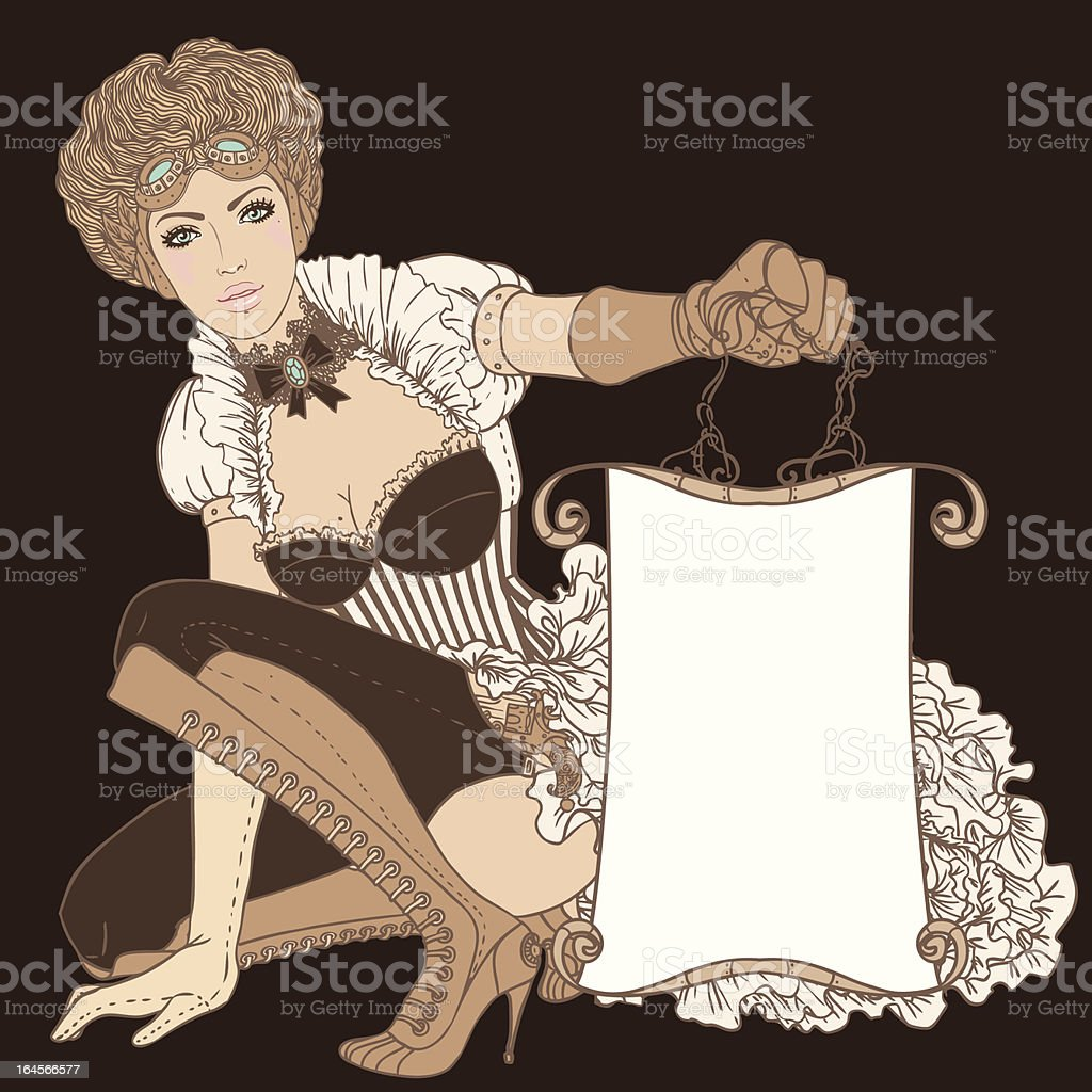 Beautiful steampunk girl holding a empty banner vector art illustration